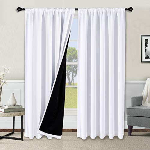 WONTEX 100% White Blackout Curtains for Bedroom 52 x 84 inches Long - Thermal Insulated, Noise Reducing, Sun Blocking Lined Rod Pocket Window Curtain Panels for Living Room, Set of 2 Winter Curtains