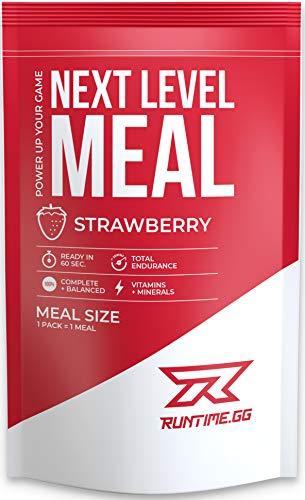 Runtime Meal - Strawberry | Vollwertiger Mahlzeitersatz, lange Sättigung & Leistungsfähigkeit | 24 Vitamine & Mineralien | 1 Portion - 150g