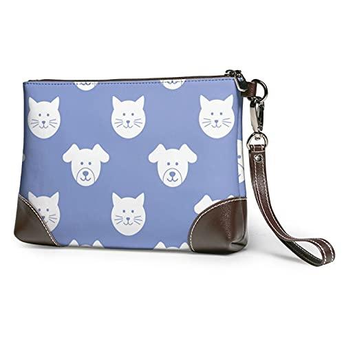 MGBWAPS Cachorro y gatito caras embrague, bolso de mano de cuero, bolso cosmético, bolso de embrague, (Como se muestra), Talla única