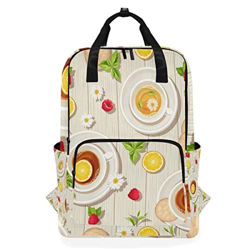 Rucksack Tea Time Nahtlose Muster Tassen Kekse Zitrone Schultaschen Lässig Leinwand Multifunktions Daypack Rucksack Laptoptasche für Studenten Mädchen Jungen Mann Frau