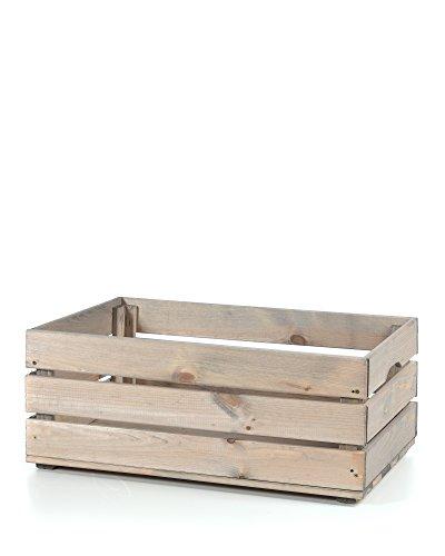 myHomery Holzkiste Vintage – Deko-Weinkiste Groß – Kiste aus Holz – Obstkiste Groß Aufbewahrung - Dekokiste für Indoor – Grau | 58x39