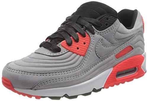 Nike Air MAX 90, Zapatillas Deportivas Mujer, Night Silver Bright Crimson Bianco Night Silver, 37.5 EU