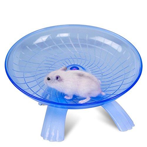 SZMYLED Laufrad für kleine Tiere aus Kunststoff, geräuschlos, rutschfest, für Hamster, Igel, kleine Haustiere, Laufrad, Blau, 18 x 18 x 11 cm