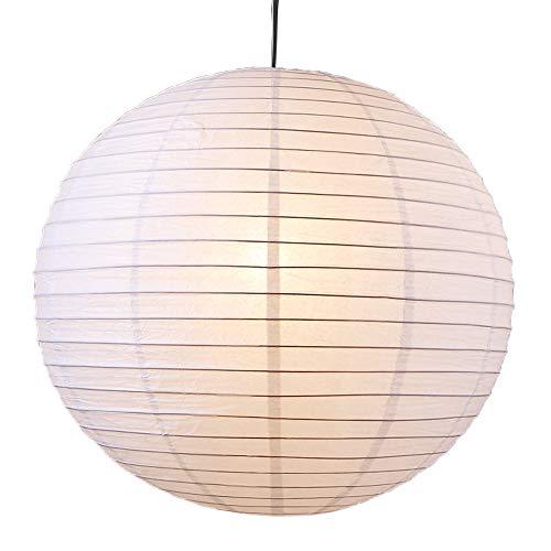 Japankugel in weiß   Papierleuchte 40cm Durchmesser   Leuchte inklusive Schnurpendel   Pendellampe rund mit 70cm Schnurlänge