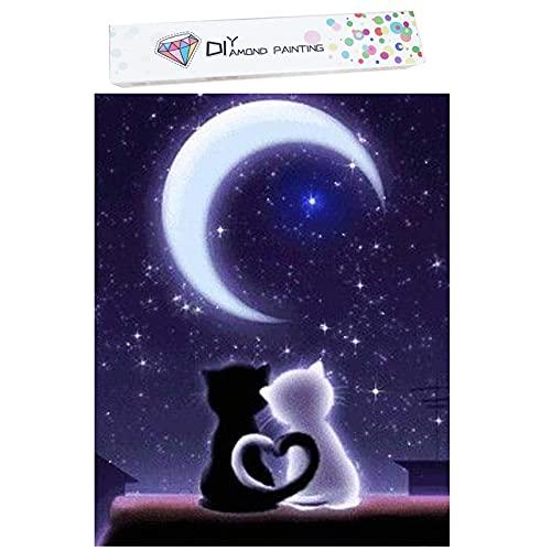 Kits de pintura de diamante 5D para adultos, pintura de diamante con diseño de gato, bordado de diamantes de imitación de cristal, 5D, regalos de decoración del hogar, (30 x 40 cm, con caja)