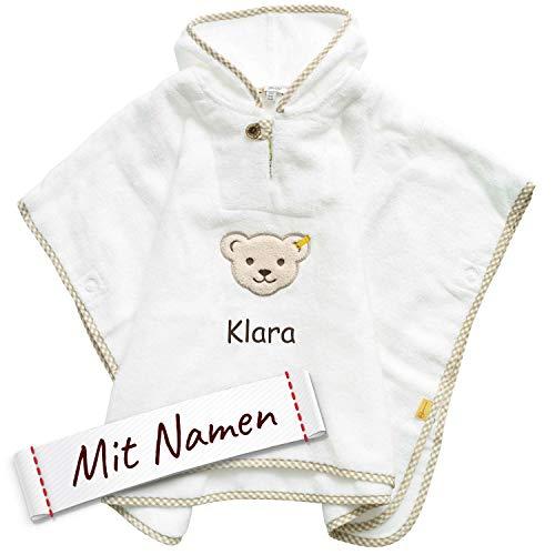 Steiff Poncho bestickt mit Namen für Baby & Kinder, Weiß, Badetuch, Bade-Poncho, Kapuzenbadetuch, Handtuch mit Kapuze, Mädchen & Junge (Unisex) Bademantel, 100% Baumwolle, Weiß