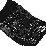 WYFC Set de manicura 17 en 1 Kit de pedicura Profesional Tijeras de uñas Kit de Aseo con Funda de Viaje de Cuero Negro for Adultos o niños (Color : Black)