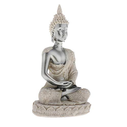 CUTICATE Small Buddha Statue Figurine Hindu Fengshui Praying Sitting Sculpture for Home Decor 4.33'' - Silver