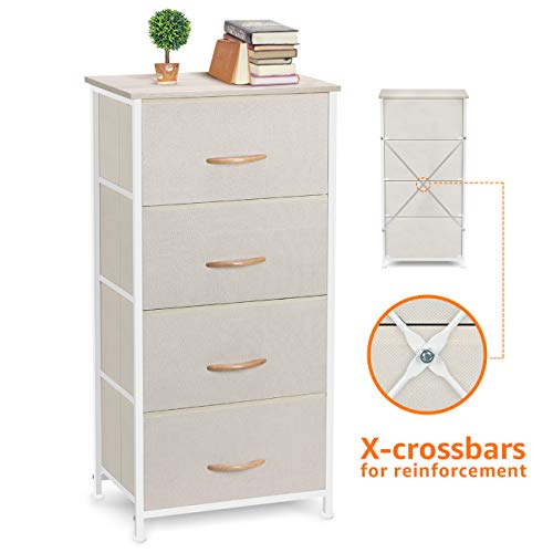Best Price! COSYLAND 4 Drawer Dresser Storage Tower, Fabric Organizer Unit Stable for Bedroom, Closet, Entryway, Hallway, Nursery Room Beige