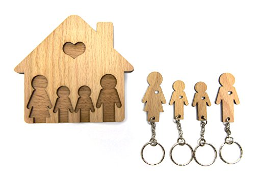 Mimi keyholders - Colgador de llaves Familia con dos hijos, con conjunto de llaveros, madera blanca