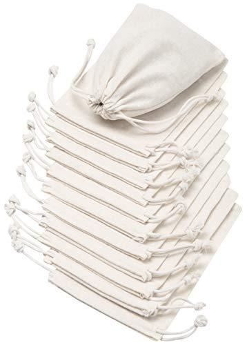 DR 100% Baumwolle Beutel Mit Kordelzug, Stoffsack Mit Band Zum Zuziehen - Organisch Und Natürlich, Weiß, 10x15 cm - 12 Stück