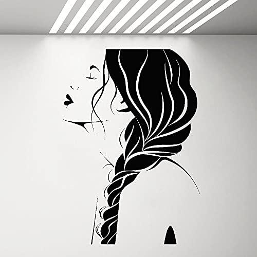 Belleza chica cara tatuajes de pared peluquería estilo de peinado pegatinas moda puertas y ventanas decorativas calcomanías de vinilo A3 42X60 CM