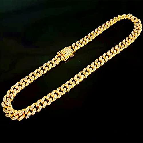WQZYY&ASDCD Collar De Mujer Pulsera De Diamantes Chapada En Oro para Hombres Y Mujeres Estilo Europeo Y Americano Hip-Hop Boutique Cubana Moda Salvaje Collar-Golden_70Cm_