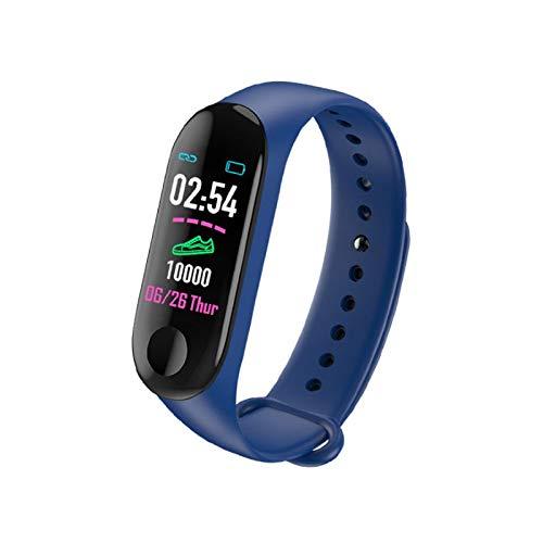 Fitness Armband M3 mit Pulsmesser, Wasserdicht IP67 Pulsuhren Fitness Tracker Aktivitätstracker Schrittzähler Uhr Herren, Damen, Kinder smartwatch Anruf Nachrichten beachten (blau)