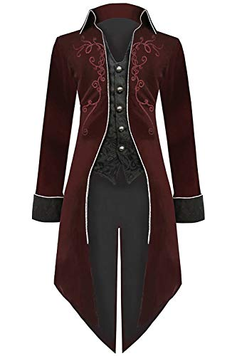 Mens Steampunk Tailcoat Halloween Costumes, Velvet Embroidered Victorian Tuxedo Jacket Gothic Vintage Frock Coat (XX-Large, Wine-red)