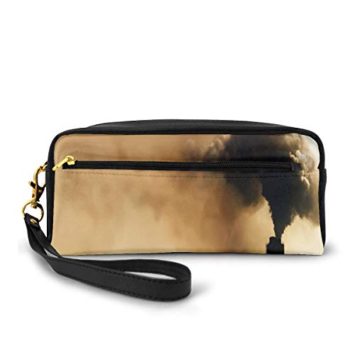 Pencil Case Pen Bag Pouch Stationary,Heavy Smoke Industrial Chimney Pollution Contamination Environment,Small Makeup Bag Coin Purse