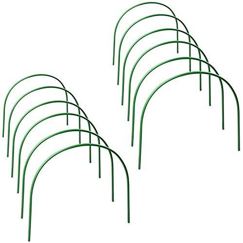 Meiyum 12 x Gewächshaus-Reifen, lang, Stahl mit kunststoffbeschichteten Gartenringen, Tunnel-Unterstützung, 48 x 48 cm, Pflanzenstütze für Gewächshaus