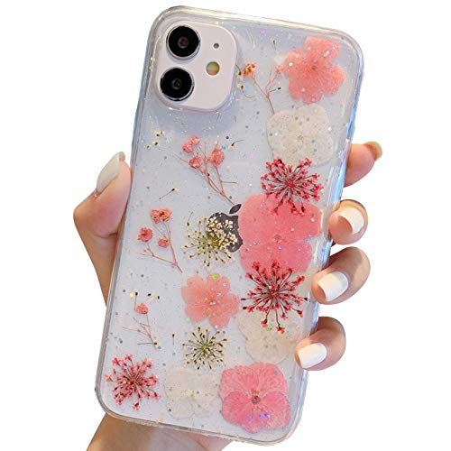Tybiky Funda para iPhone 12 Pro Max, diseño de flores inmortales, funda de flores secas reales prensadas [resistente a arañazos] suave transparente, antigolpes para iPhone 12 Pro Max, 4 hojas rosa
