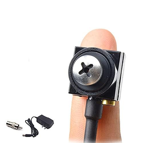 TPEKKA Mini Cámara Espía Oculta Mini Cámara Vigilancia HD 800TVL Portátil Botón Pequeño Pinhole Convertir BNC Cámara Espias de Tornillos Hogar Audio Coche para CCTV CAM DVR FPV FPV
