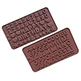 HAPPY BIRTHDAY Letter Number Silicone Candy Chocolate Molds Desserts Cupcake Cake Topper Decorations, Pack of 2