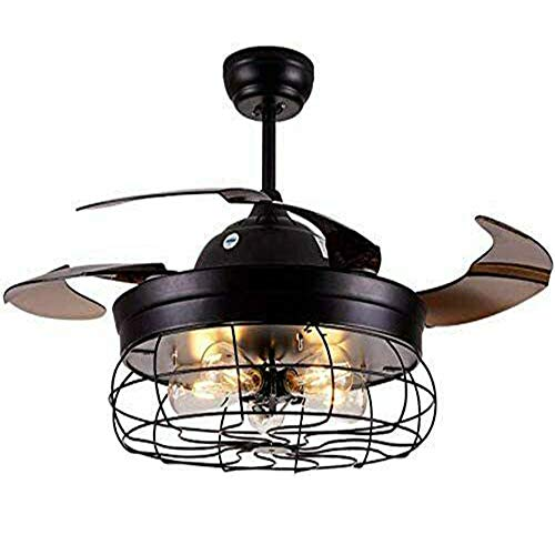 Ventiladores de techo de estilo industrial con ventiladores de techo teledirigidos de metal ligero que iluminan la lámpara de techo.