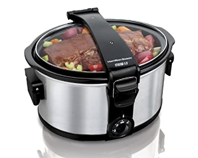 Hamilton Beach Stay or Go Portable 7-Quart Slow Cooker with Lid Lock for Easy Transport, Dishwasher-Safe Crock, Silver (33472)