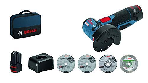 Bosch Professional 12V System Akku Winkelschleifer GWS 12V-76 (inkl. 2x2.0Ah Akku, 5tlg. Trenn- und Schleifscheiben-Set, in Tasche)