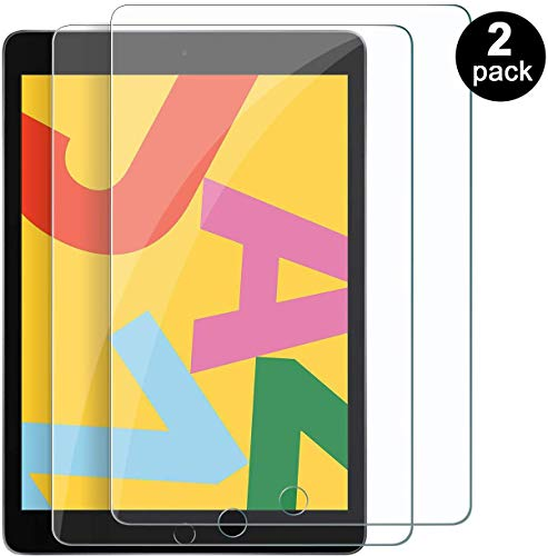 2 Pack Compatiable for iPad 10.2 2019 Screen Protector, iPad 7 (10.2-Inch, 2019 Model, 7th Generation) Tempered Glass