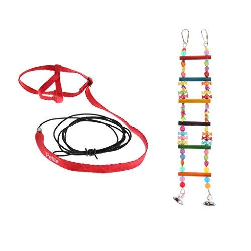perfk Arnés para Loros Cuerda de Entrenamiento Y Escalera de Madera para Loros con Campanas