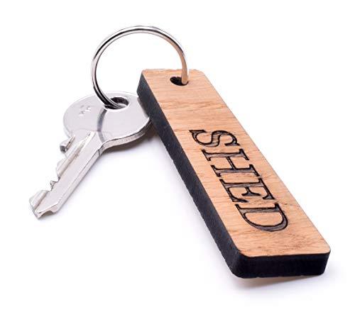 OriginDesigned Hardwood Cherry Veneer SHED Key Ring - Traditional Rectangular Shape