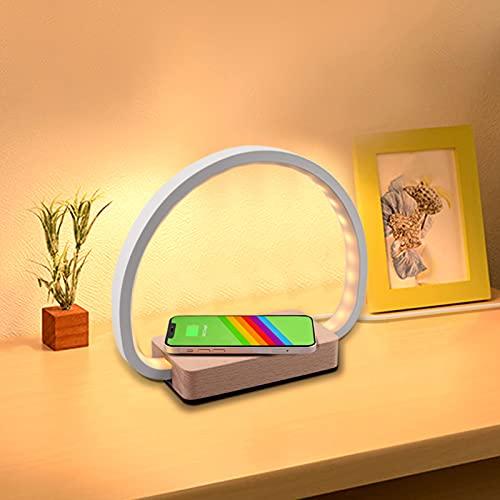 Lámpara de Mesa de Noche, Colorlam Lámpara con Cargador Inalámbrico y Carga USB Control Táctil 3 Niveles de Brillo Ajustable Moderna Lampara para Niños Adultos Decoración Hogar Dormitorio Oficina
