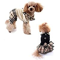 【kamakura dog】ベルボアチェックワンピース&つなぎ 犬服 チェック柄 (ワンピースベージュ, XL)