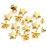 100 Sets 12MM Gold Star Rivets for Leather Star Rivet Studs Garment Rivets Leather Rivets Studs and Spikes for...