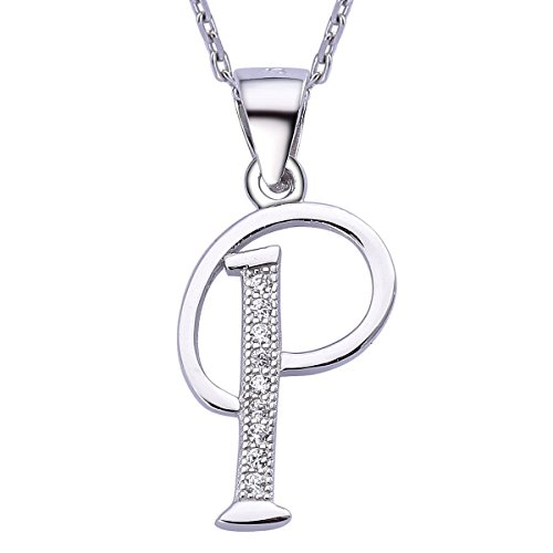 VIKI LYNN Letter P Initial Pendant 925 Sterling Silver with Cubic Zirconia Alphabet Personalised Gifts for Women