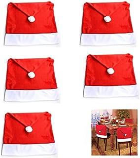 Generic Brands 5 Piezas Fundas Protectoras para sillas temáticas de Navidad Funda para sillas navideñas Cubierta de la Silla de Comedor Navidad para Decoraciones Festivas de Fiesta de Navidad