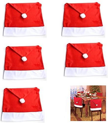 Generic Brands 5 Stück Santa Hut Stuhl Bezüge 50 x 60 cm / 19,7 x 23,6 Zoll Rote Hut Stuhl Rückseiten Abdeckungen,Weihnachtsdeko Stuhl Hussen,Stuhlhussen für Weihnachten Tisch Partei Dekor