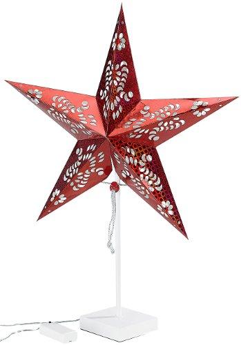 Lunartec Tischleuchte Weihnachten: Deko-Tischleuchte in Sternform, rot (Weihnachtsstern Tischleuchte)