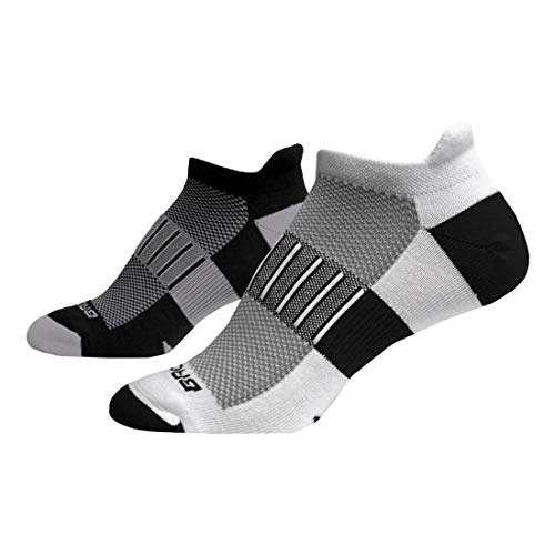Brooks Ghost Midweight Tab 2-Pack Running Socks Black/Oxford & White/Black Size Large