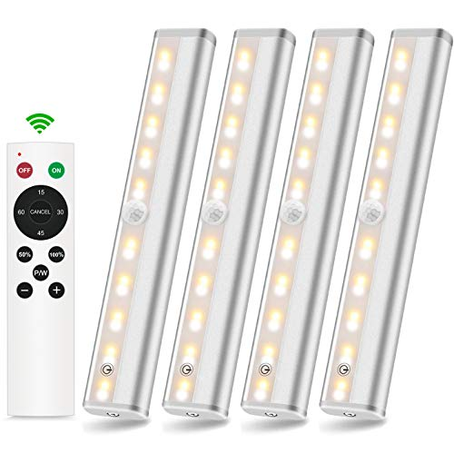 SZOKLED Wireless Under Cabinet Lighting Battery Operated 20 LEDs Remote Control Closet Lights with Timer Dimming Touch Switch Night Light Bars for Garage Pantry Stairs Hallway Shelf, 3 Colors 4 Packs