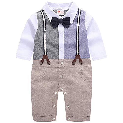 CARETOO - Conjunto de ropa de bebé para bautizo y niño, 3 piezas, con camisa de manga larga + pantalones, chaleco + pajarita, gentleman para otoño Navidad boda azul 60 cm(9-12 meses)