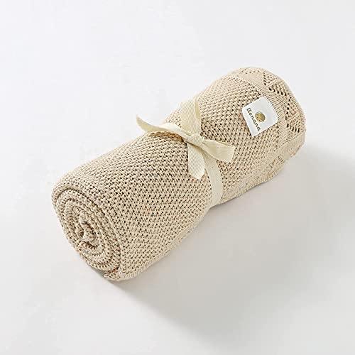 Manta Premium para Bebé Niño o Niña Recién Nacido de Punto de Algodón Orgánico Gots para Invierno 80x100 cm Mantita Extra Suave Tejida Grosor Medio con Borde Calado (Beige Jaspeado)