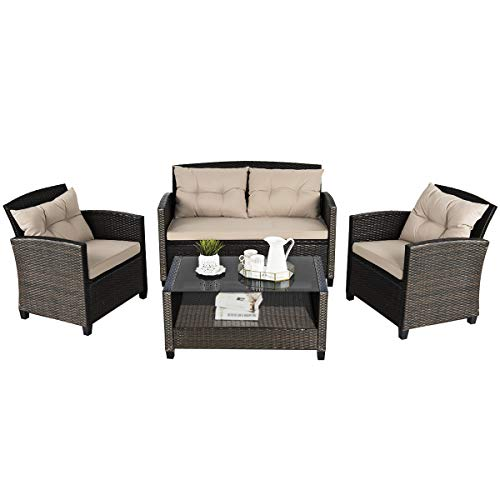 Tangkula 4-Piece Outdoor Rattan Furniture Set, PE Rattan Wicker Sectional Sofa with Loveseat Chair & Glass Table, Patio Cushioned Conversation Sets for Backyard Porch Garden Poolside (1, Brown)