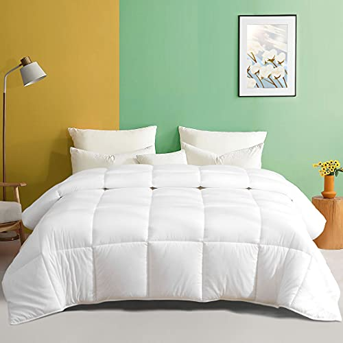 TOPGREEN King Size (106x90, White)Down Alternative Comforter 100% Cotton Fabric and Soft Breathable GRS Bio-Based Microfiber Quilted Stand-Alone Comforter or Duvet Insert, Medium Warm For All Season.