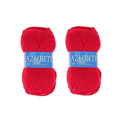 les colis noirs lcn Lot 2 Pelotes de Laine Azurite 100% Acrylique Tricot Crochet Tricoter - Rouge - 156