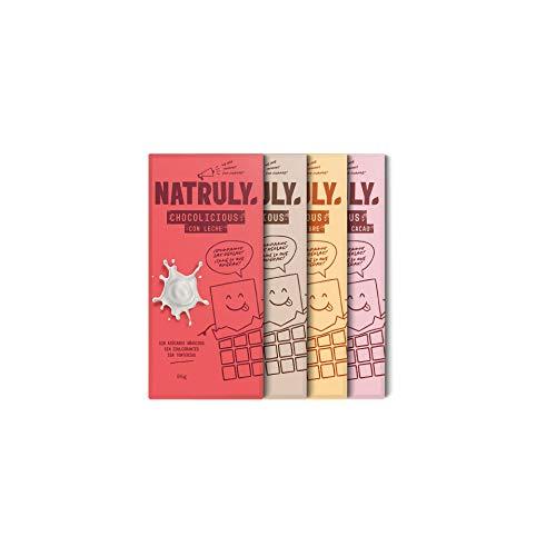 NATRULY Tablette de Chocolat sans Sucre et sans Édulcorants. Sucré à la Fibre de Chicorée -Pack tablettes mélange saveurs