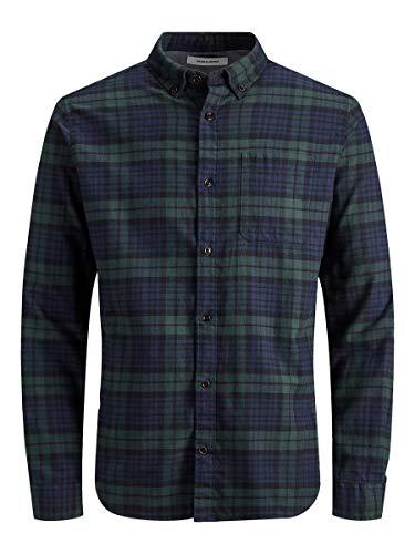 Jack & Jones Jjewashington Shirt L/s STS Camisa, Verde (Olive Nightgrün), Small para Hombre