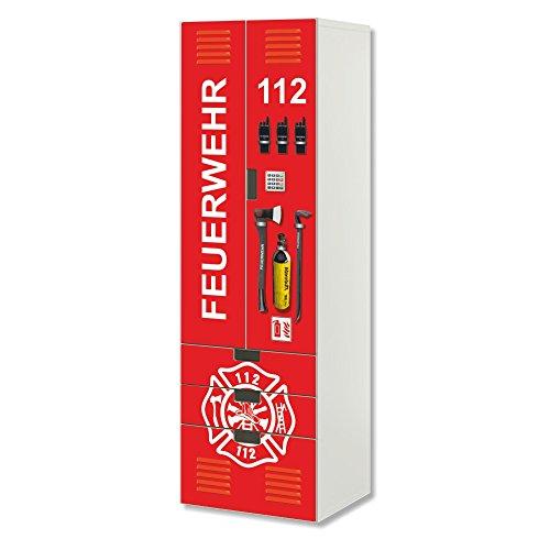 STIKKIPIX Feuerwehr Möbelfolie | SC3K20 | passend für die Kinderzimmer Aufbewahrungskombination STUVA von IKEA | Klebe-Folie passgenau für Schrank und Kommode mit 3 Fächern | Möbel Nicht Inklusive