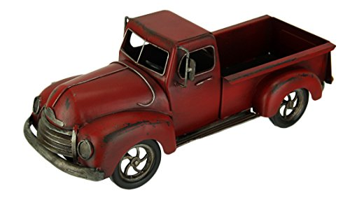 Audrey's Hand Painted Vintage Red Pickup Truck Metal Statue