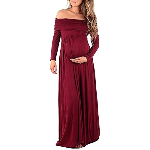 UESEU Women's Cowl Neck and over The shoulder Maternity Dress Wine Red S