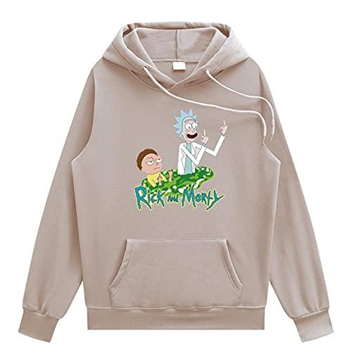 Rick y Morty 3D con capucha Hombres Mujeres Cool Streetwear Pullover Sudadera de manga larga,Caqui,XXL